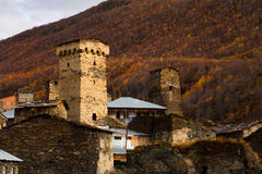 Villaggio di Ushguli Caucaso, Svaneti superiore - sito del patrimonio mondiale dell'Unesco georgia Immagini Stock