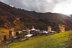 Villaggio di Ushguli Caucaso, Svaneti superiore - sito del patrimonio mondiale dell'Unesco georgia Fotografie Stock