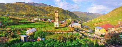 Villaggio di Ushguli, Svaneti Georgia Immagini Stock Libere da Diritti