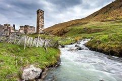 Villaggio di Ushguli in Swanetia. Georgia Fotografie Stock Libere da Diritti