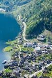 Villaggio di vista aerea nella città del hallstatt Immagine Stock Libera da Diritti