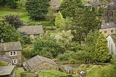 Villaggio di West Yorkshire Moorland in Inghilterra del Nord immagine stock libera da diritti