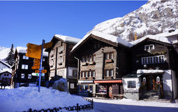 Villaggio di Zermatt, Svizzera Fotografia Stock