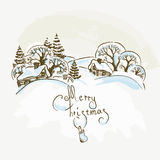 Villaggio disegnato a mano di Natale illustrazione vettoriale