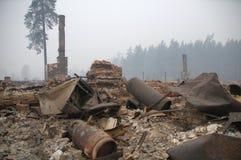 Villaggio dopo fuoco Fotografia Stock Libera da Diritti