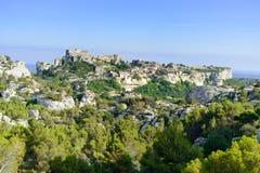 Villaggio e castello di Les Baux de Provenza. La Francia Fotografia Stock