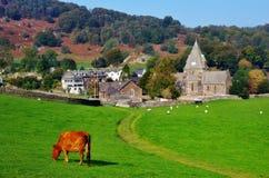 Villaggio e chiesa di Finsthwaite Immagine Stock