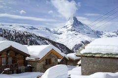 Villaggio Eggen nell'inverno, Zermatt, Svizzera Fotografia Stock