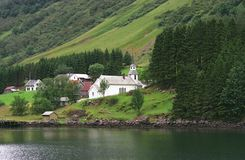 Villaggio in fiords Fotografia Stock