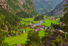 Villaggio Flam - in Norvegia Fotografie Stock
