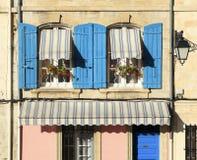 Villaggio francese della scatola di finestra della casa Fotografia Stock