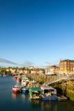 Villaggio francese Dieppe della costa con il porto Fotografia Stock