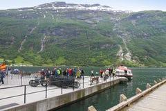 Villaggio Geiranger, fiordo di Geiranger, Norvegia Immagine Stock Libera da Diritti