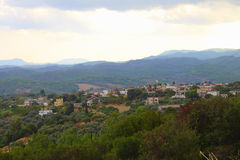 Villaggio greco di mattina Fotografia Stock
