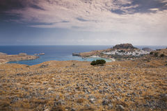 Villaggio greco Lindos in Rodi Fotografia Stock Libera da Diritti