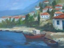Villaggio greco, pittura fatta a mano Fotografie Stock