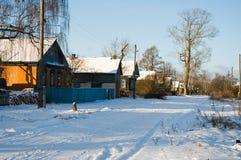 Villaggio in inverno Fotografie Stock