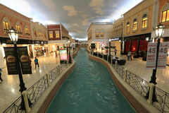 Villaggio Mall in Doha. The capital city of Qatar, is a world class shopping destination surrounded by charming Venetian-styled interiors Royalty Free Stock Photo