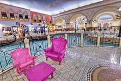Villaggio Mall in Doha. The capital city of Qatar, is a world class shopping destination surrounded by charming Venetian-styled interiors Royalty Free Stock Photos