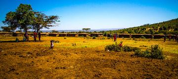 Villaggio masai in masai Mara Fotografie Stock Libere da Diritti