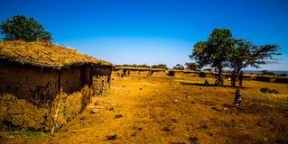 Villaggio masai in masai Mara Fotografia Stock Libera da Diritti