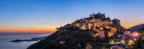 Villaggio medievale Eze della sommità al crepuscolo, la Francia Fotografia Stock Libera da Diritti