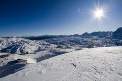 Villaggio in montagne Fotografia Stock