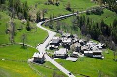 Villaggio nei d'Ayas di Val Fotografia Stock
