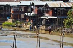Villaggio nel lago Inle fotografia stock libera da diritti