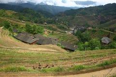 Villaggio nel terrazzo di Longji, Guilin Fotografia Stock