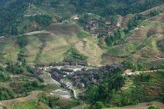 Villaggio nel terrazzo di Longji, Guilin Fotografia Stock Libera da Diritti