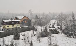 Villaggio nell'inverno - neve, costruzioni ed alberi con una foresta e Fotografia Stock Libera da Diritti