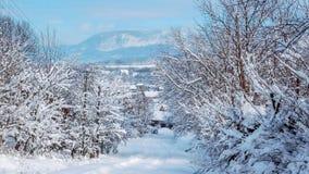 Villaggio nella scena di inverno, montagna sui precedenti fotografia stock libera da diritti