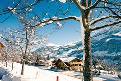 Villaggio nelle alpi svizzere Fotografie Stock