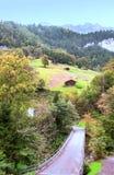Villaggio nelle alpi svizzere Immagine Stock Libera da Diritti