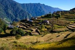 Villaggio nepalese nella regione di Annapurna Immagine Stock