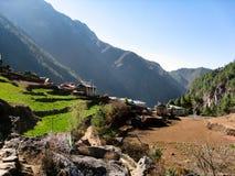 Villaggio nepalese nella regione di everest Fotografia Stock Libera da Diritti