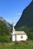 Villaggio norvegese nella zona del fiordo Fotografia Stock