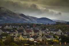 Villaggio nuvoloso da sopra Fotografia Stock Libera da Diritti