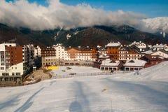 Villaggio olimpico nel mazzo nei Olympics, Soci della montagna Immagini Stock Libere da Diritti