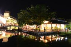 Villaggio orientale alla notte Fotografie Stock Libere da Diritti