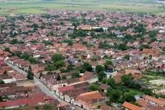 Villaggio rumeno da sopra (Risnov) Immagini Stock