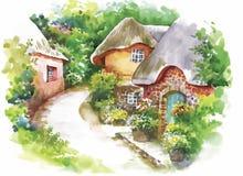 Villaggio rurale dell'acquerello nell'illustrazione verde di giorno di estate Fotografia Stock Libera da Diritti