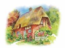 Villaggio rurale dell'acquerello nell'illustrazione verde di giorno di estate Fotografia Stock