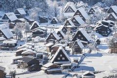 Villaggio storico di Shirakawago nell'inverno, Giappone Fotografia Stock Libera da Diritti