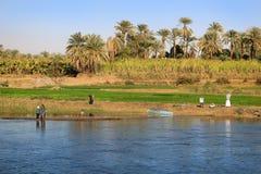 Villaggio su Nile River, Egitto Immagini Stock Libere da Diritti
