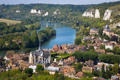 Villaggio su Seine, Francia Fotografie Stock Libere da Diritti