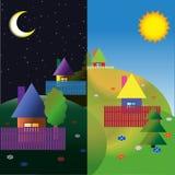 Villaggio sulle colline Notte e giorno Immagini Stock