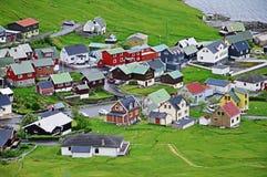 Villaggio sulle isole faroe Fotografia Stock