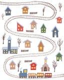 Villaggio sveglio di inverno con le case variopinte e la strada di ferrovia illustrazione vettoriale